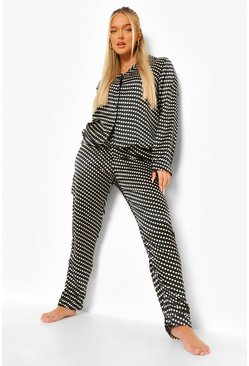 Black Ditsy Polka Satin Pyjamas