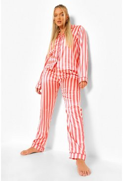 Nude Striped Satin Pajamas