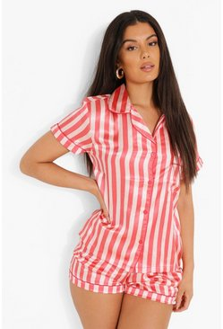 Nude Striped Satin Pajama Short Set
