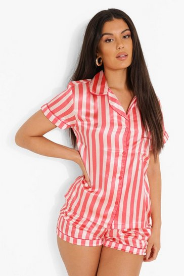 Nude Striped Satin Pyjama Short Set