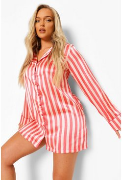 Nude Striped Satin Nightshirt