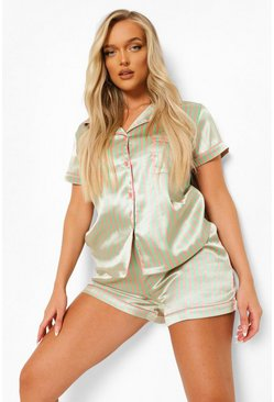 Green Candy Stripe Pyjama Short Set