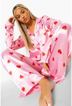 Baby pink Tall Satin Love Heart Pj Set