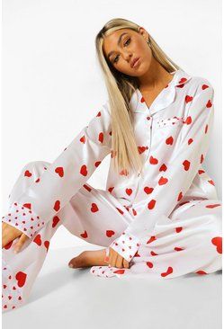 White Tall Satin Love Heart Pj Set