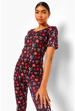 Black Tall Heart T-shirt And Legging Pyjama Set