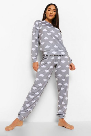 Grey Cloud Print Lounge Set