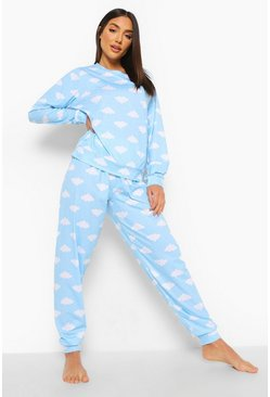 Blue Wolken Print Lounge Set