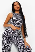 Black Zebra Mix N Match Racerfront Pyjama Crop