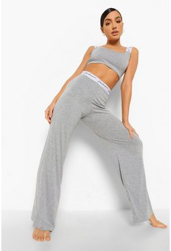 Grey Woman Tape Crop Pyjama Set