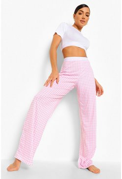 Red Woman Tape Gingham Pajamas