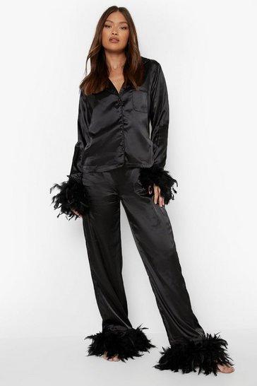 Black Premium Feather Trim Pyjamas