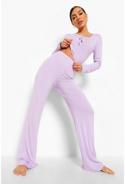 Lilac purple Wide Leg Lounge Set Met Ruches