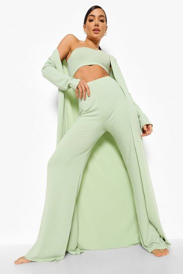 Sage green Wide Rib Maxi 3 Piece Lounge Set