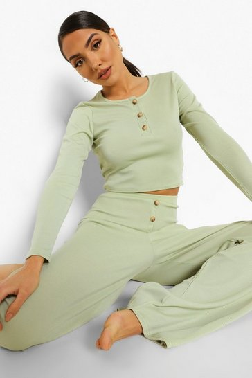 Mint green Rib Button Front Wide Leg Lounge Set