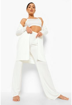 Cream white 3 -Delige Wide Leg Lounge Set