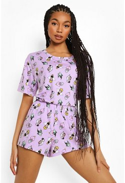 Lilac purple Mix & Match Disney Slechteriken Pyjama Shorts