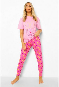 Disney Minnie Contrast Pyjama Set , Hot pink rosa