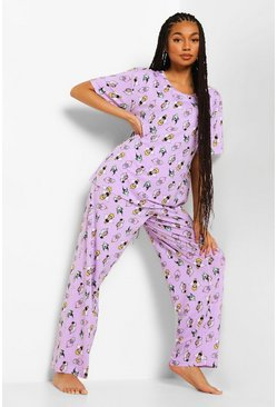 Lilac purple Disney Villains Mix & Match Pyjama Leggings