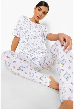 White Disney Alice In Wonderland Pyjama Leggings