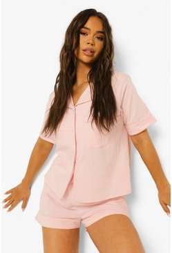 Blush pink Jersey Honeymoon Pyjama Met Parel Knopen En Biezen