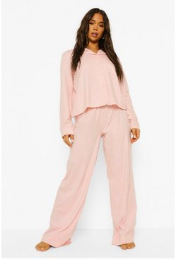 Blush pink Honeymoon Pearl Button Piping Jersey Pyjamas