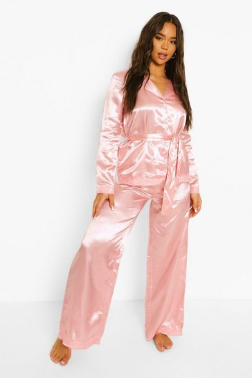 Blush pink Honeymoon Satin Pearl Button Lace Wrap Pyjama