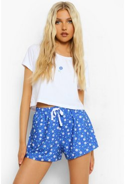 Cobalt blue Floral Crop Tee Pj Short Set