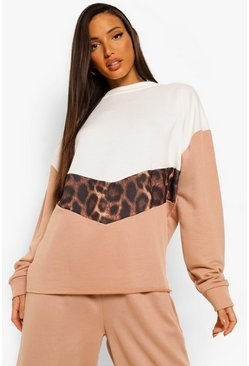Leopard multi Tall Colour Block Luipaardprint Trainingspak Met Sweater