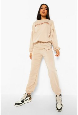 Stone beige Tall Everyday Slogan Sweatshirt Tracksuit