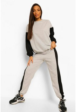 Grey marl grey Tall Colourblock Panel Sweatshirt Tracksuit