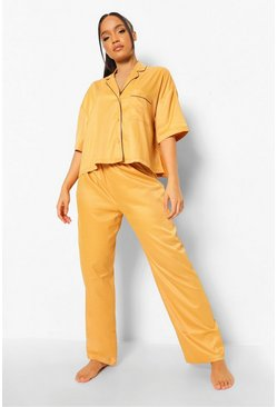 Mustard yellow Short Sleeve Piping Detail Pj Set