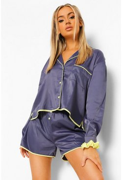 Navy Contrast Piping Detail Short Pj Set