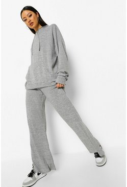 Grey marl grey Oversized Hoody & Split Leg Trouser Lounge