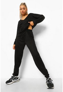 Black Tall Soft Rib V Neck Slouch Top Lounge Set