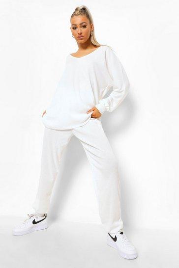 Cream white Tall Soft Rib V Neck Top Loungewear Set