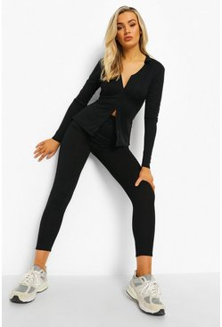 Black Rib Button Lounge Set