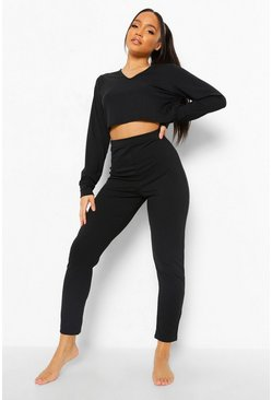 Black Rib Long Sleeve & Legging Lounge Set