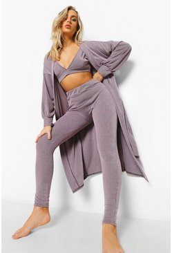 Lilac purple 3-Delige Acid Wash Gebleekte Lounge Set