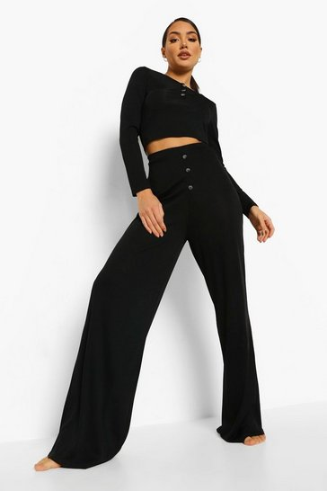Black Rib Button Front Wide Leg Lounge Set