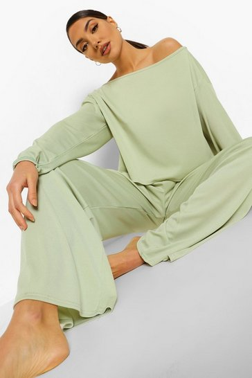 Mint green Rib Slash Neck Lounge Set