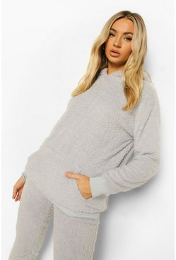 Grey Teddy Fleece Lounge Hoodie