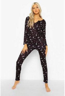 Black Tall Moon & Star Top & Legging Pj Set