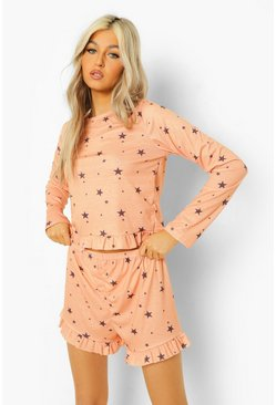 Apricot nude Tall Star Frill Hem Top & Shorts Pj Set