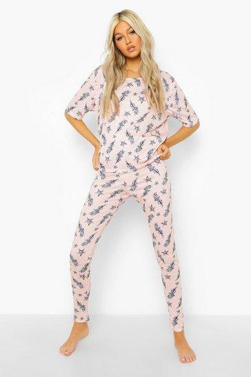Pink Tall Lightening Bolt T-shirt & Legging Pj Set