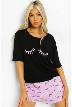 Lilac Tall Eyelash T-shirt & Short Pj Set