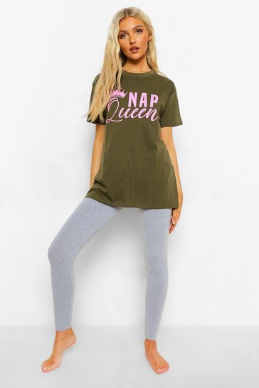 Khaki Tall Nap Queen T-shirt And Legging Pj Set