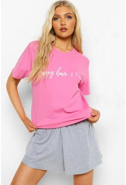 Pink Tall Slogan T-shirt And Short Pj Set