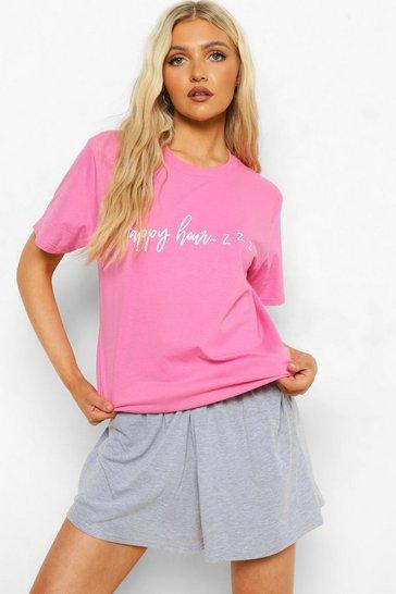 Pink Tall Slogan T-shirt And Short Pj Set