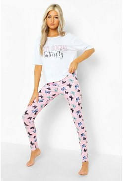 Lilac Tall Butterfly T-shirt & Legging Pj Set