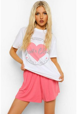 White Tall Snooze Club Pyjama Set Met T-Shirt En Shorts